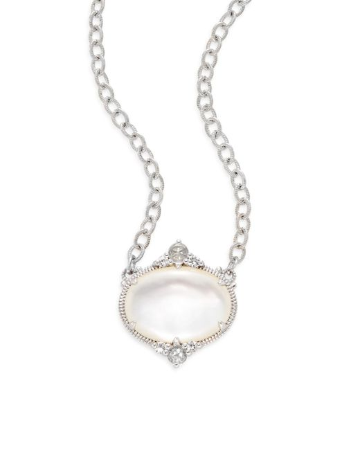 Judith Ripka | Metallic Allure White Sapphire, Rock Crystal, Mother-of-pearl & Sterling Silver Oval Necklace | Lyst