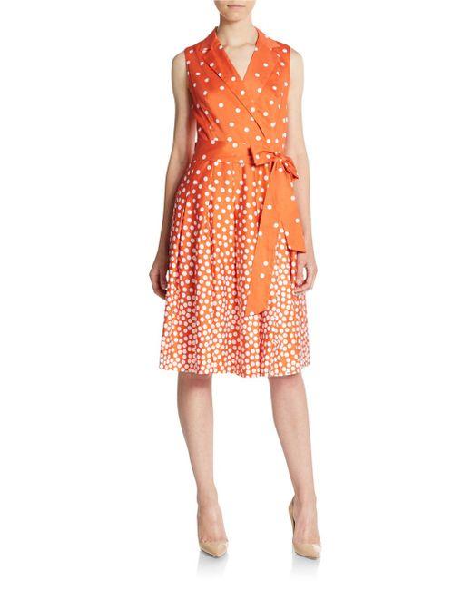 Anne Klein Polka Dot Print Fit And Flare Dress In Orange