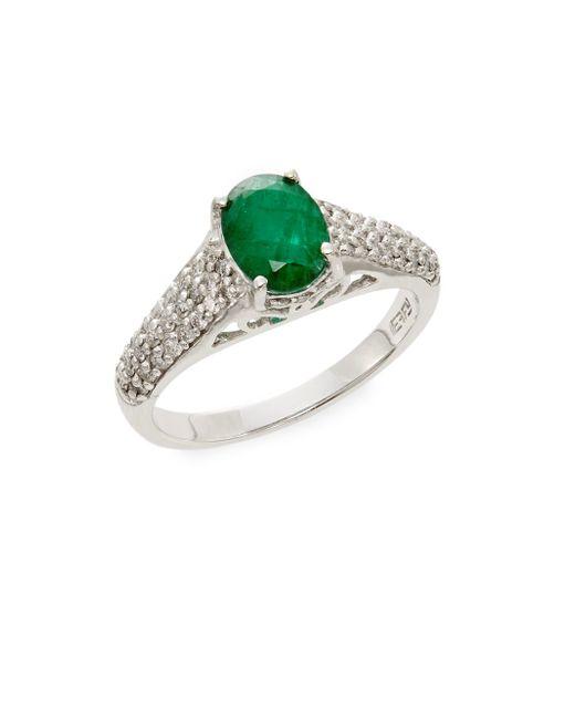 effy emerald 14k white gold ring in white