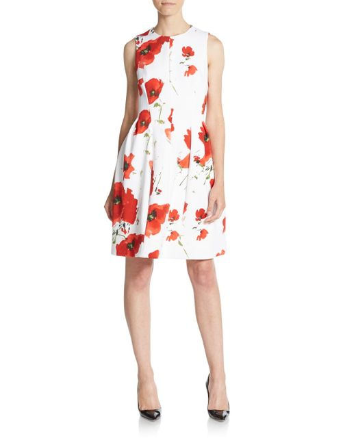 Anne Klein Printed Fit And Flare Scuba Dress In Floral