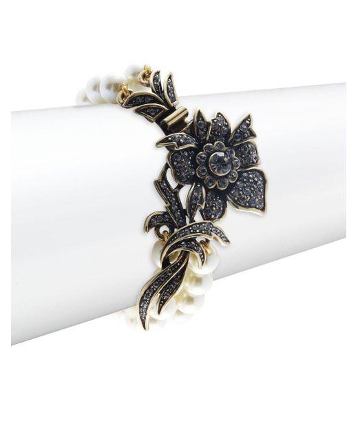 Heidi Daus | Metallic Fancy Floral Faux Pearl Bracelet | Lyst