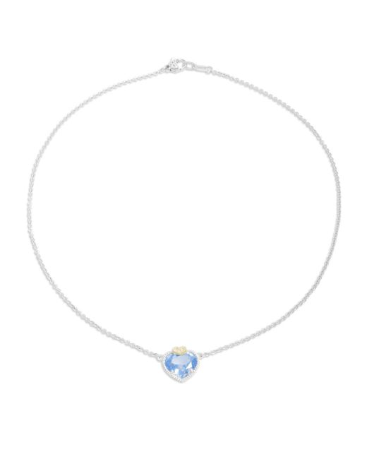 Judith Ripka   Blue Quartz, White Sapphire, Sterling Silver & 18k Yellow Gold Heart Pendant Necklace   Lyst