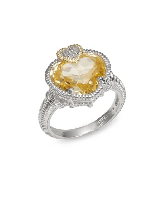 Judith Ripka | Canary Crystal, White Sapphire, Sterling Silver, And 18k Yellow Gold Heart Ring | Lyst
