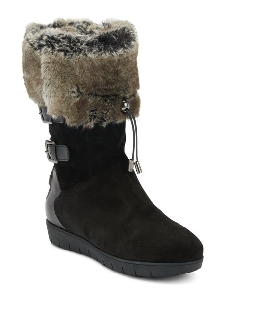 aquatalia westley faux fur lined suede leather boots in