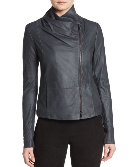 Vince Leather Scuba Jacket In Black Coastal Blue Save