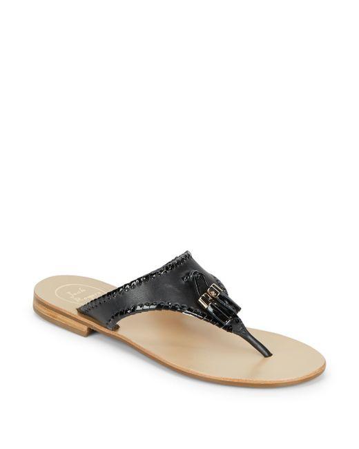 Jack Rogers | Black Alan Tasseled Thong Sandals | Lyst
