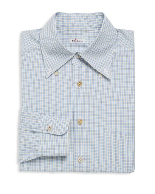 Kiton Checkered Cotton Dress Shirt In Blue For Men Lyst