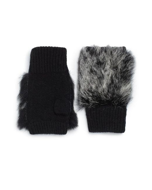 Adrienne Landau   White Knit Fingerless Fur Gloves - Black   Lyst