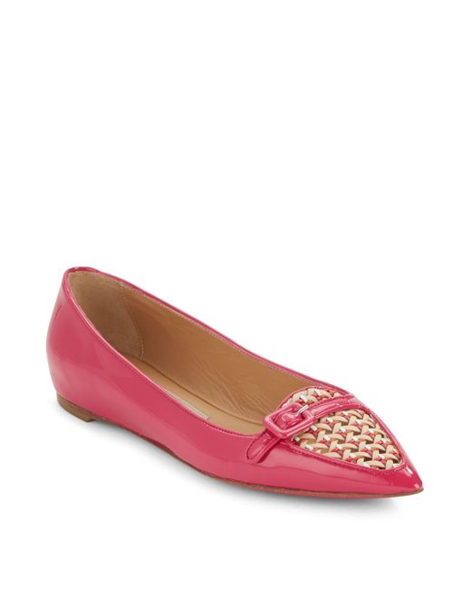 Ferragamo | Pink Patent Leather Point Toe Ballet Flats | Lyst
