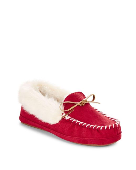 Saks Fifth Avenue | Red Faux Fur-lined Thinsulate Slippers | Lyst
