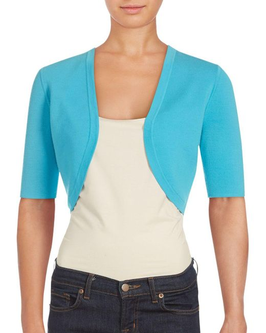 Michael Kors | Blue Merino Wool Cropped Jacket | Lyst