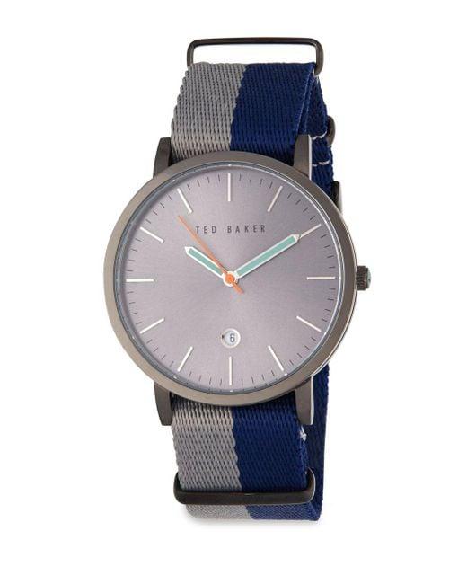 Ted baker stainless steel quartz watch in gray for men lyst