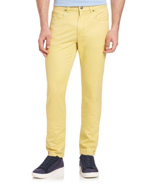 Saks Fifth Avenue   Yellow Pima Cotton Straight-leg Pants for Men   Lyst