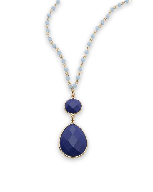 Cara | Blue Beaded Pendant Necklace- 14in | Lyst