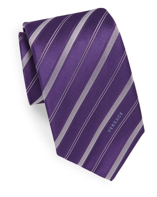 Versace | Purple Stitched Silk Tie for Men | Lyst
