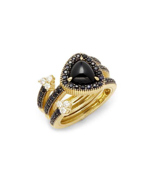Judith Ripka | Metallic Diamonds, Black Onyx & 18k Yellow Gold Ring | Lyst