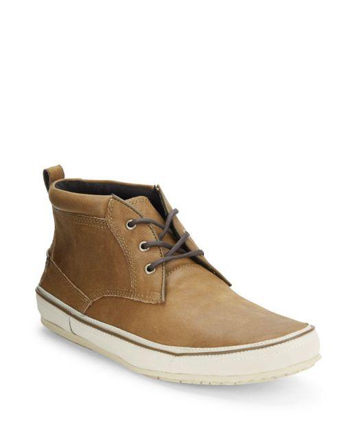 John Varvatos | Brown Leather Chukka Sneakers for Men | Lyst