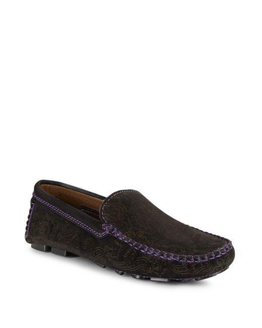 Robert Graham | Black Printed Moc Toe Slip-on Sneakers for Men | Lyst