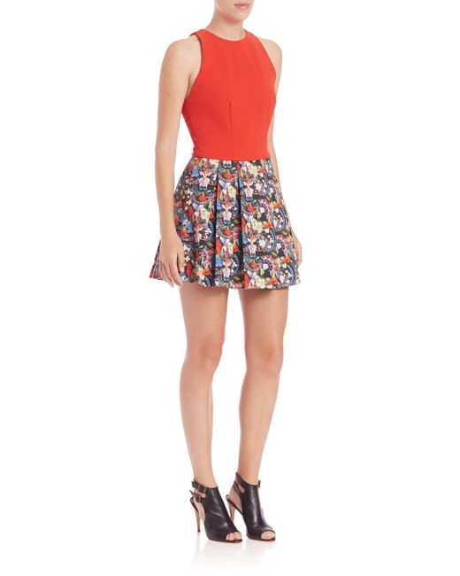 Alice + Olivia | Red Ren Lace-panel Cropped Top | Lyst