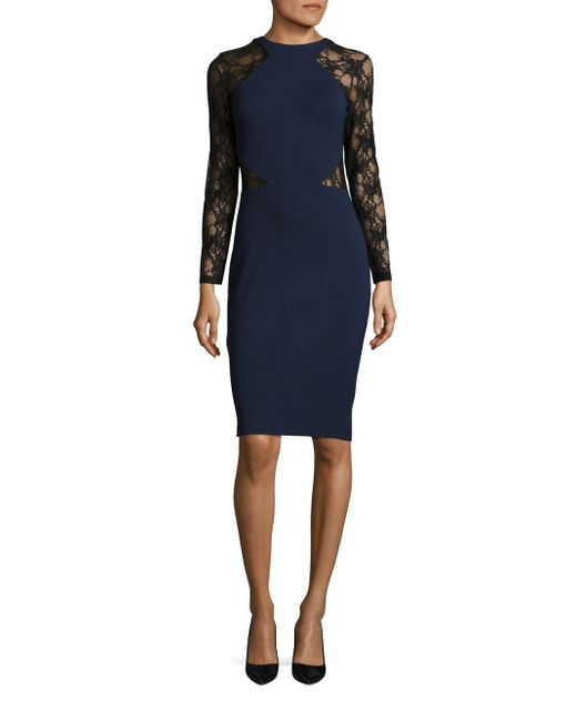 French Connection | Black Viven Lace-trimmed Bodycon Dress | Lyst