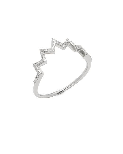 EF Collection | Metallic 14k White Gold & Diamond Electric Zig-zag Ring | Lyst
