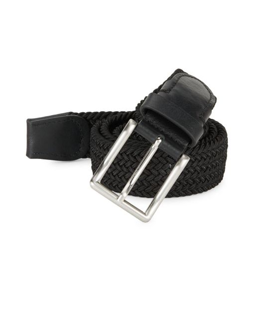 Saks Fifth Avenue | Black Woven Leather Belt for Men | Lyst