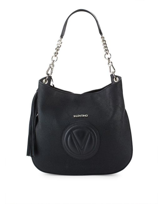 Valentino By Mario Valentino | Black Penny Perforated Leather Shoulder Bag | Lyst
