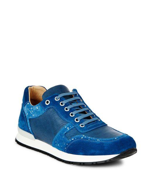 Bugatchi | Blue Denim-trimmed Tie-up Suede Sneaker | Lyst