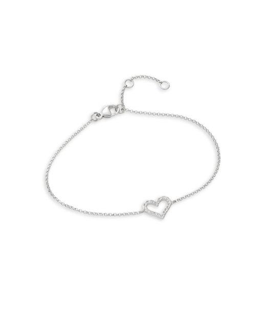 Effy | Metallic Pave Classica Diamond And 14k White Gold Heart Bracelet | Lyst