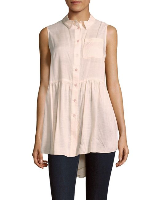 French Connection | Pink Gathered Modal Blouse | Lyst