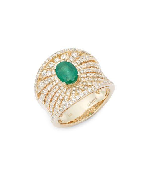 Effy   Diamond, Emerald & 14k Yellow Gold Ring   Lyst