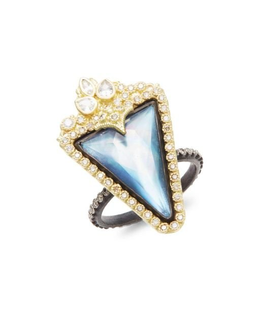 Armenta | Metallic Old World Mother-of-pearl, Sapphire, Quartz, Diamond, 18k Yellow Gold & Sterling Silver Ring | Lyst