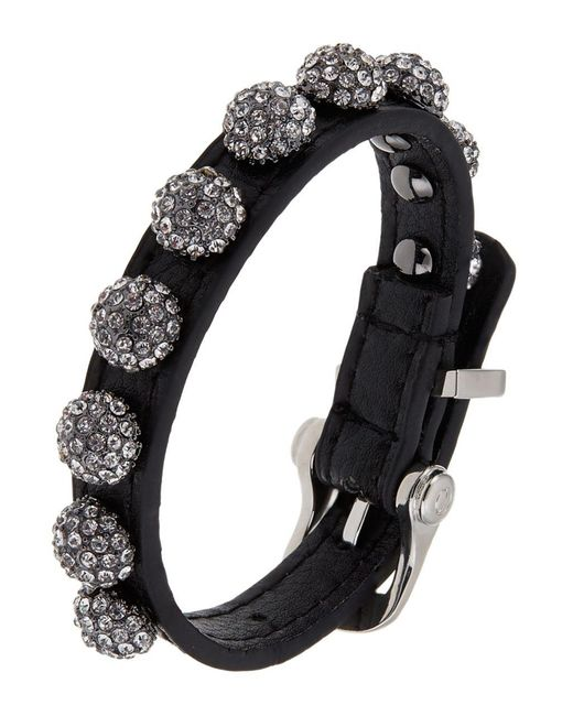 ABS By Allen Schwartz | Black Leather Wrap Cuff With Pave | Lyst
