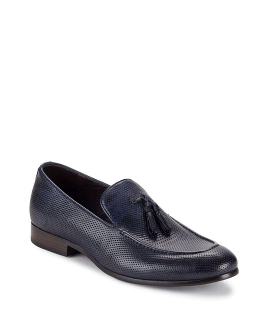 Saks Fifth Avenue | Blue Lawson Perforated Tassel Loafers for Men | Lyst
