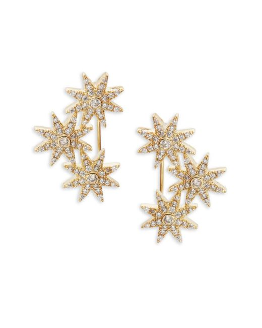 Saks Fifth Avenue | Metallic Goldtone Cubic Zirconia Flower Earrings | Lyst