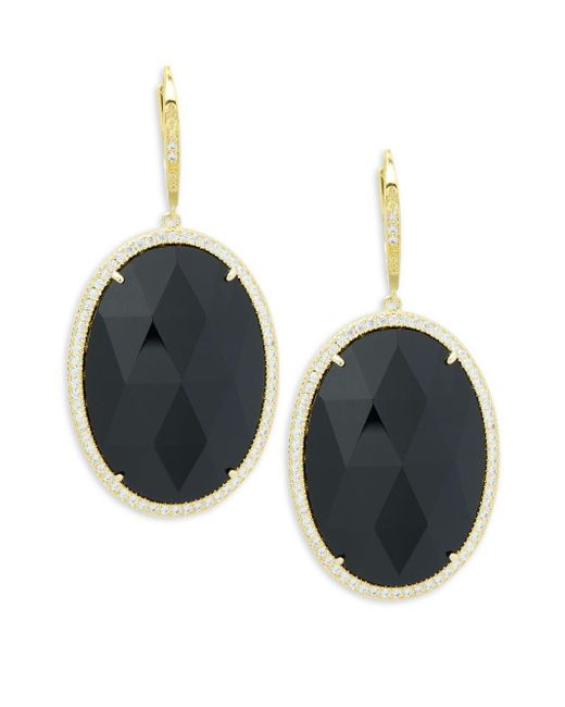 Saks Fifth Avenue | Black Goldtone Cubic Zirconia Earrings | Lyst
