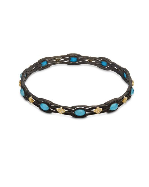 Armenta | Metallic Old World White Diamond, Blue Turquoise, Rainbow Moonstone & 18k Goldplated Sterling Silver Bracelet | Lyst