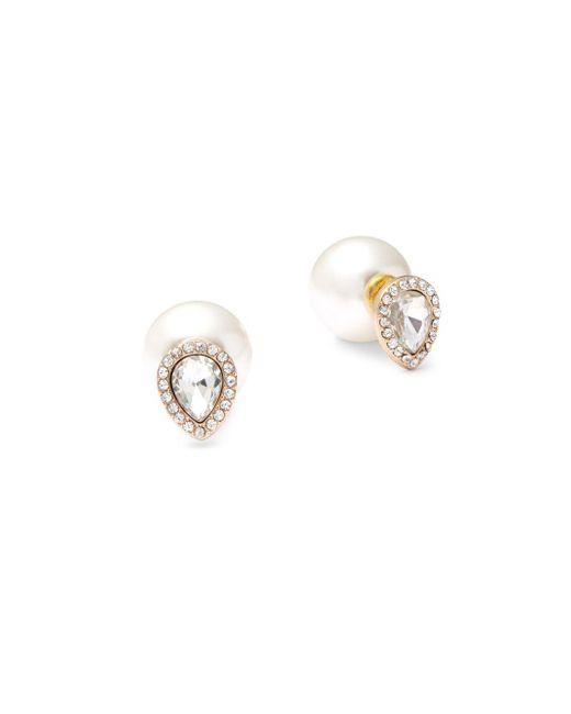 Kenneth Jay Lane | Metallic Faux Pearl & Teardrop-shaped Stud Earrings | Lyst