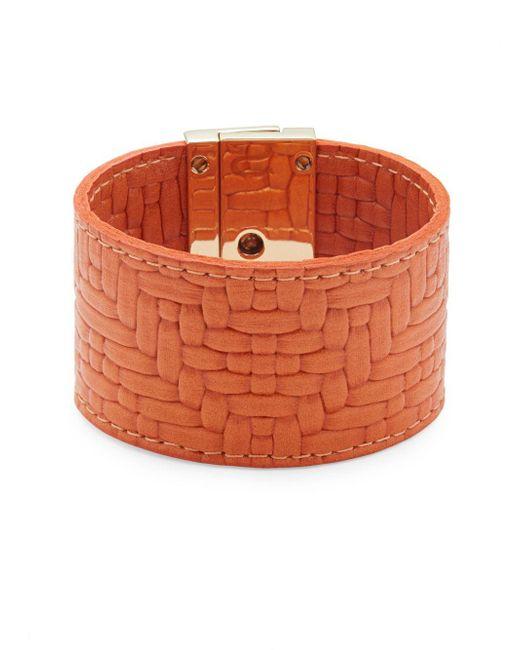 CC SKYE | Orange Embossed-leather Wrap Bracelet | Lyst