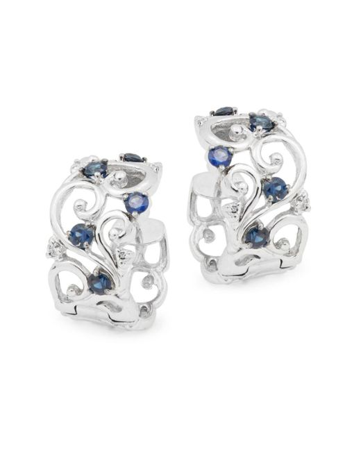 Effy | Metallic Diamond, Sapphire & 14k White Gold Solid Fill Earrings | Lyst