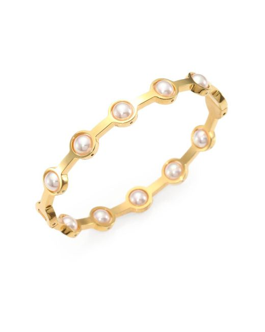 Majorica | Metallic 5mm White Pearl Station Bangle Bracelet/goldtone | Lyst