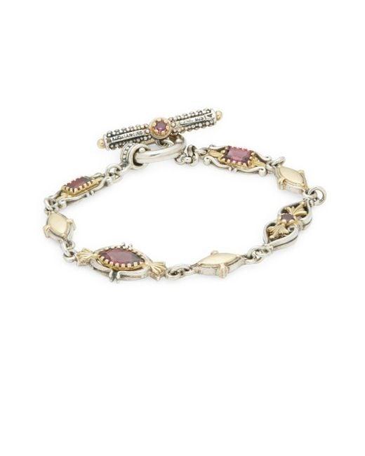 Konstantino | Metallic Artemis Rhodolite Garnet, Sterling Silver & 18k Yellow Gold Link Bracelet | Lyst