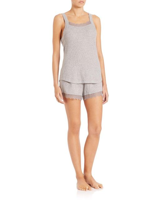 Skin | Gray Lauren Lace-trimmed Waffle-knit Cotton Tank Top | Lyst
