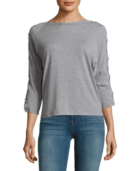 Lea & Viola   Gray Lace Sleeves Top   Lyst