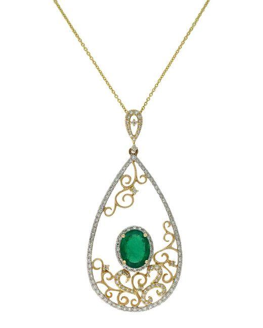 Effy | Metallic Diamond, Emerald 14k Yellow Gold Pendant Necklace, 0.58 Tcw | Lyst
