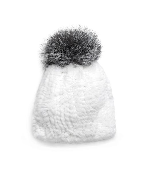 Surell | White Bobble Knitted Rabbit Fur Beanie | Lyst