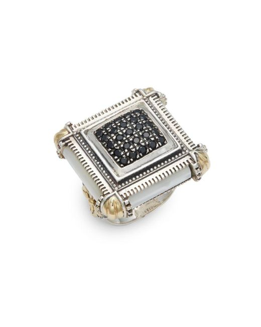 Konstantino   Metallic Ismene Mother-of-pearl, 18k Yellow Gold & Sterling Silver Pave Center Ring   Lyst