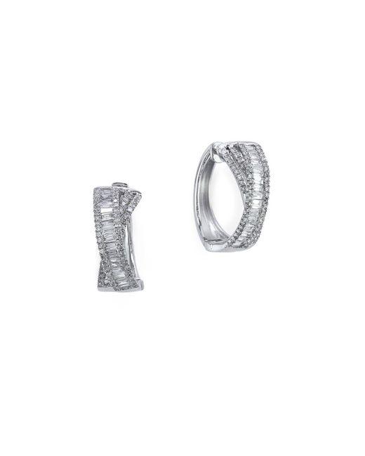 Effy | Metallic Classique Diamond And 14k White Gold Hoop Earrings, 1 Tcw | Lyst