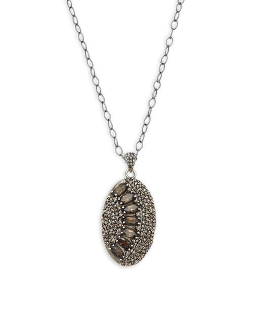 Bavna | Metallic Champagne Diamond, Smokey Quartz & Sterling Silver Necklace | Lyst