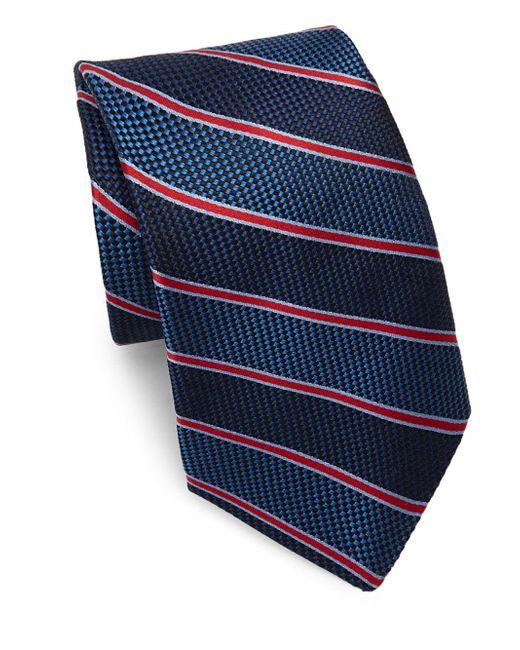 Saks Fifth Avenue | Blue Silk Textured Stripe Tie for Men | Lyst